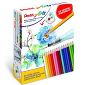 KIT 24 PASTELLI AQUERELLABILI ARTS + 1 PENNELLO AQUASH WATER BRUSH PENTEL